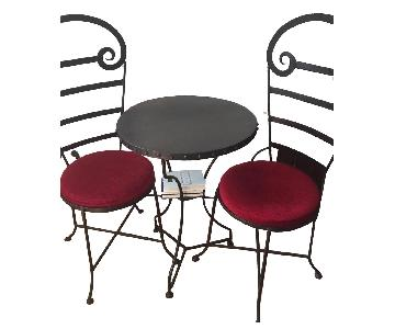 Iron Cafe Table w/ 2 Chairs