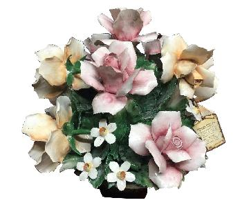 Capodimonte Italian Large Vintage Centerpiece Flower Basket