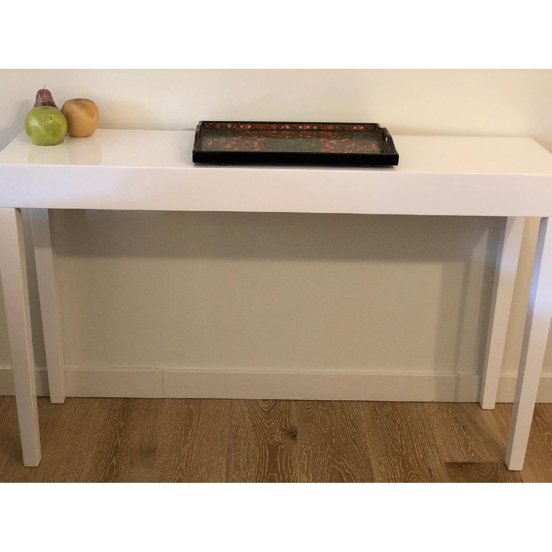 Brayden Studio Mid Century Modern White Console Table Aptdeco