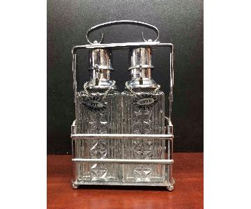 Mid Century Decanter Crystal Bottles & Chrome Carrier