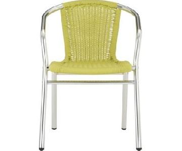CB2 Rex Faux Wicker Outdoor/Patio Chair in Lime Green