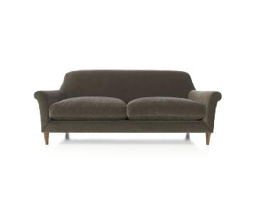 Crate & Barrel Cullen Sofa in Grey Velvet