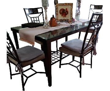 Glass & Metal Tile Top Dining Table w/ 4 Chairs