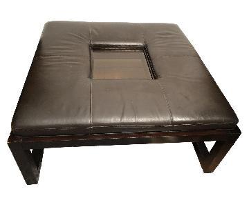 Schnadig Dark Brown Leather Ottoman w/ Glass Tray