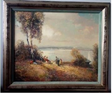 Ludwig Gschossmann Picnic Oil on Canvas