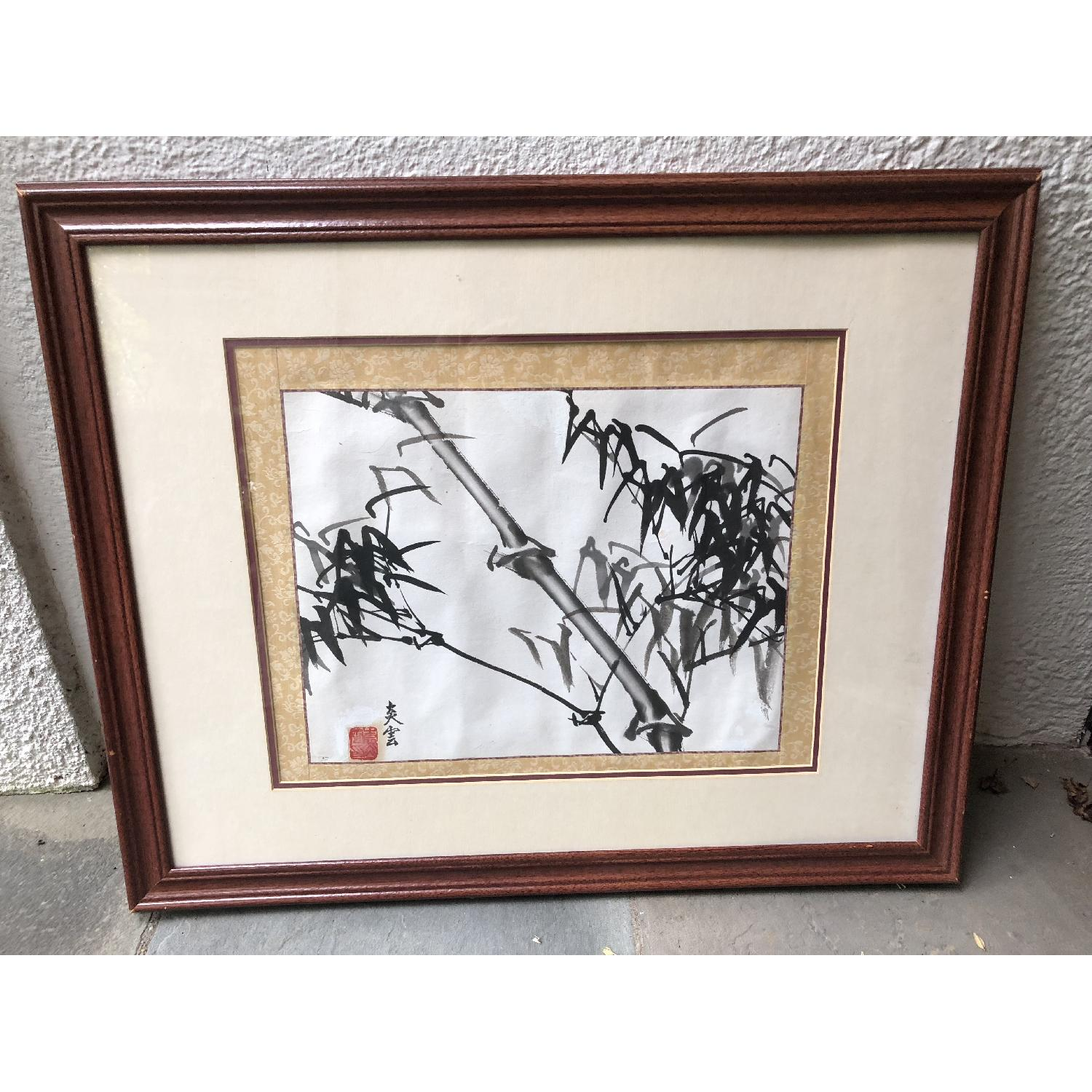 Framed Antique Chinese Ink Painting of Bamboo