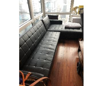 Ikea Black Leather Sleeper Sectional Sofa