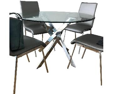 AllModern Round Glass Dining Table w/ 4 Chairs