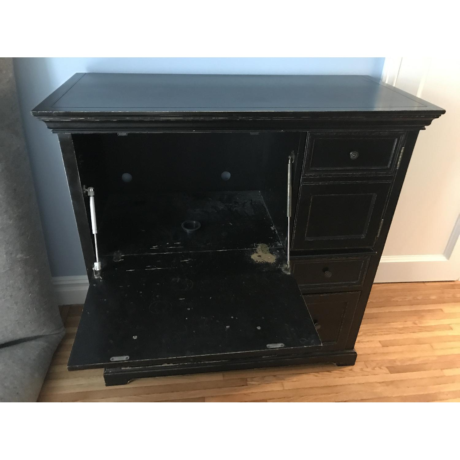 Wood Armoire Secretary Computer Desk In Black Wood Aptdeco