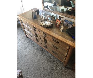 Lane Light Wood Mid Century Dresser w/ Mirror