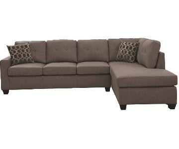 Taupe Color Modern 2-Piece Sectional Sofa