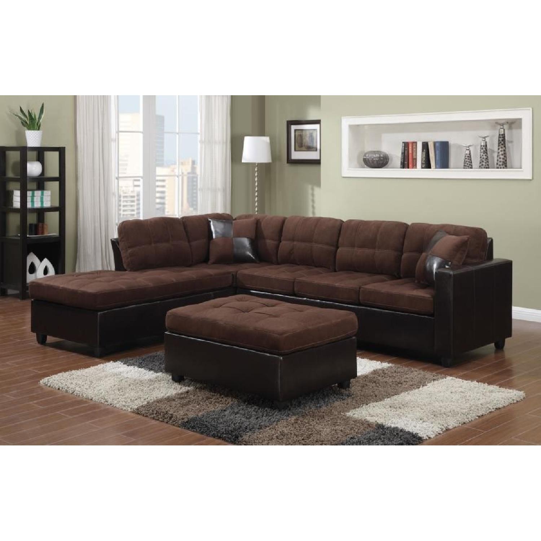 Chocolate Microfiber Modern 2-Piece Sectional Sofa