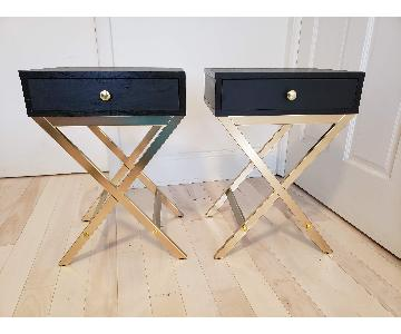 Black End Tables w/ Brushed Gold Detailing