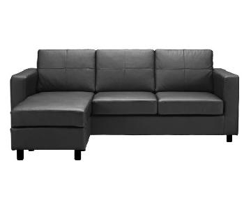 Reversible Small Leather Sectional w/ Chaise