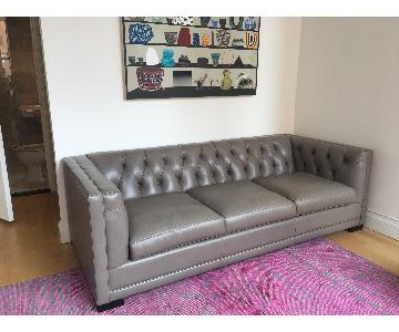 ABC Carpet and Home Tufted Leather Sofa