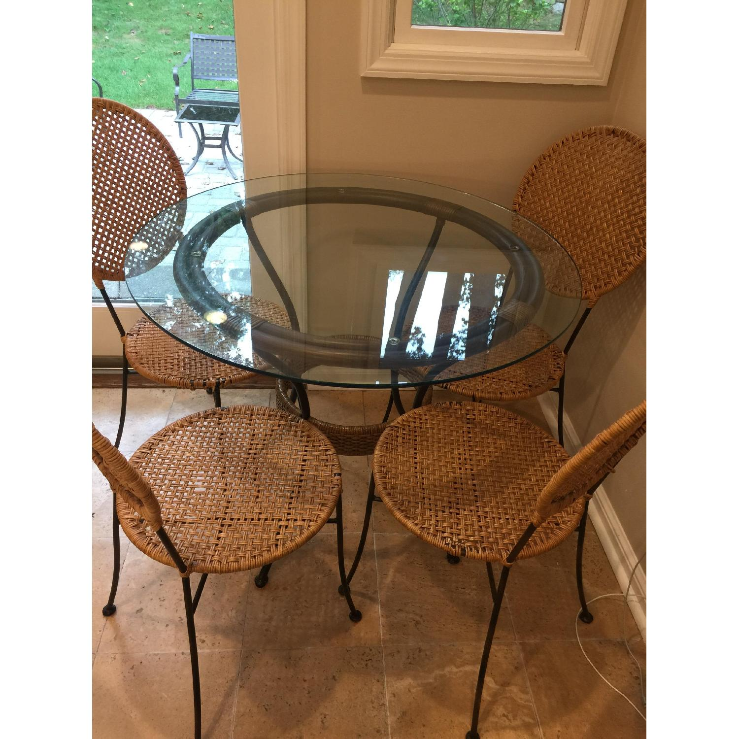 Pier 1 Round Glass Dining Table w/ 4 Chairs - image-1