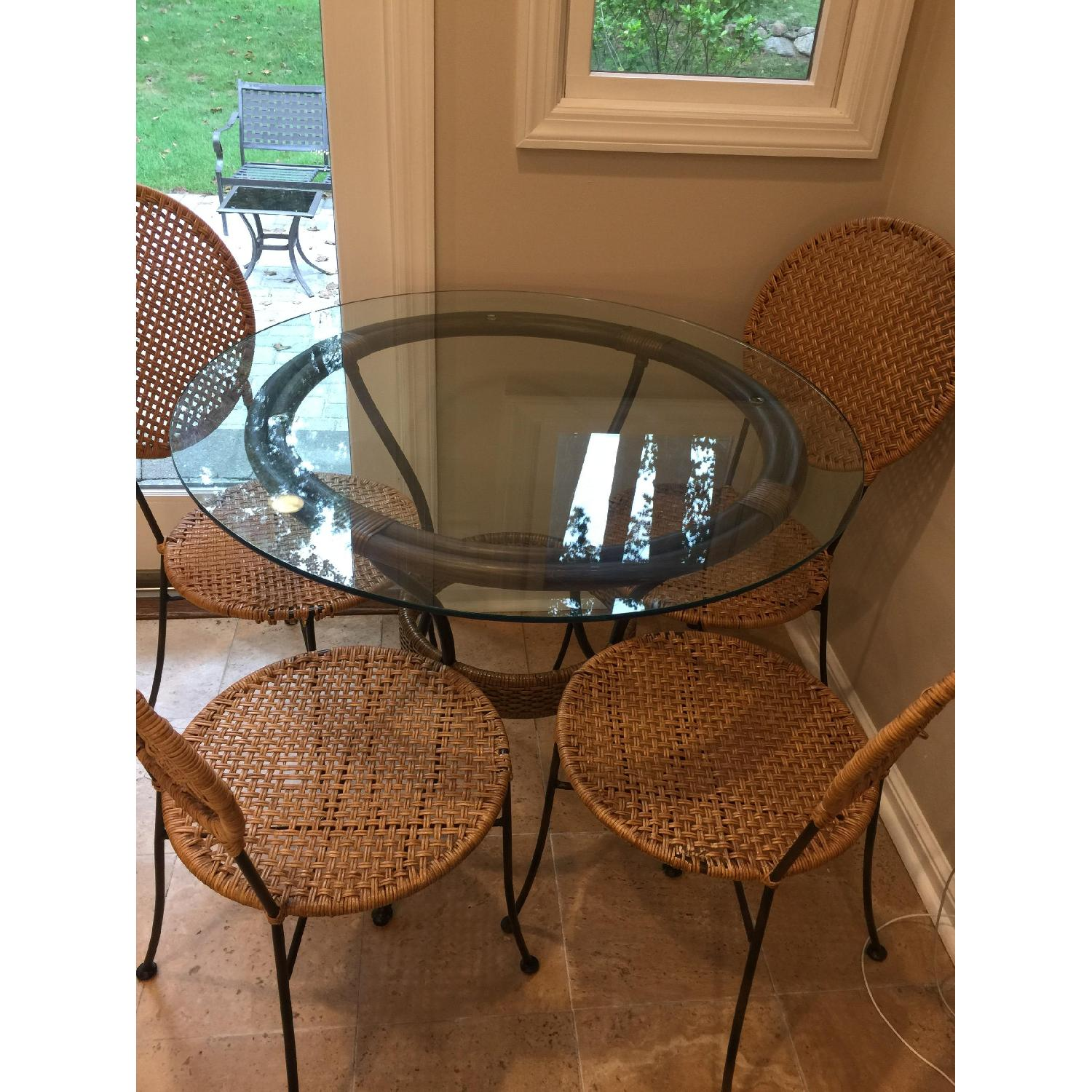 Pier 1 Round Glass Dining Table w/ 4 Chairs - image-2