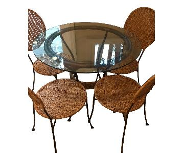 Pier 1 Round Glass Dining Table w/ 4 Chairs