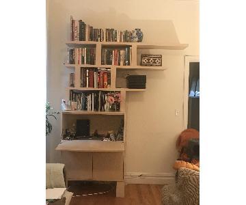 Gothic Cabinet Craft Birch Wood Desk w/ Tansu Bookcase