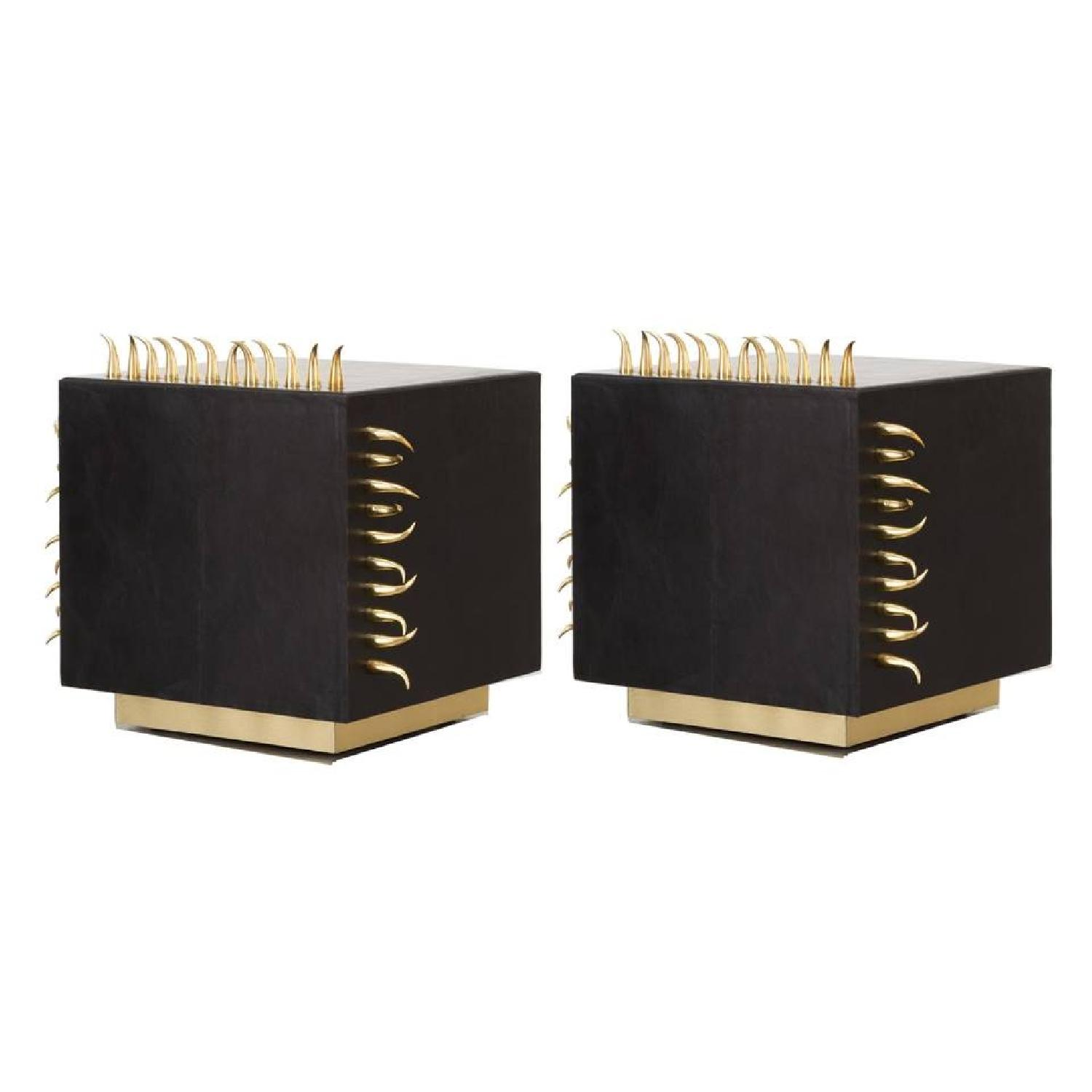 Designe Gallerie Black Leather Side Tables