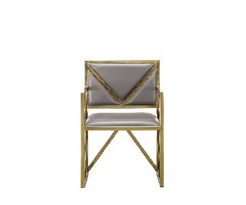 Designe Gallerie Contemporary Gray & Cream Leather Chairs