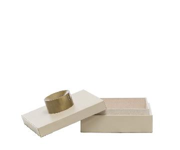 Designe Gallerie Small Cream Leather Storage Boxes