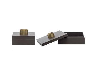 Designe Gallerie Large Gray Leather Storage Boxes