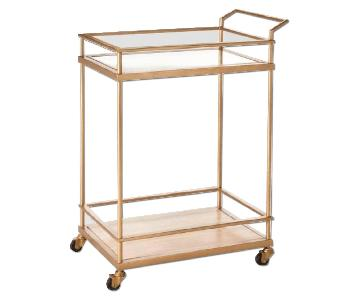 Target Wood & Glass Gold Finish Bar Cart