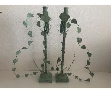 Leaves & Pines Green Patina Metal Candle Holders