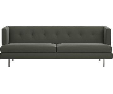 CB2 Avec Tufted Grey Sofa