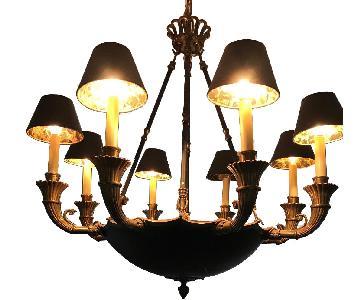 Art Deco Black & Gold Chandelier
