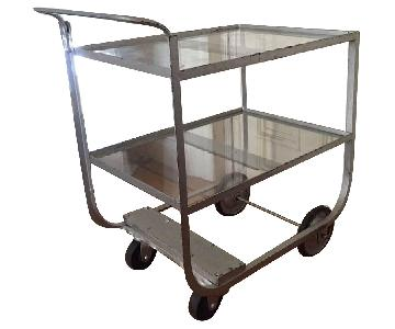 Vintage Art Deco Metal & Glass Bar Serving Cart