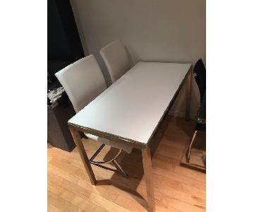 White Desk w/ Metal Frame & 2 Chairs