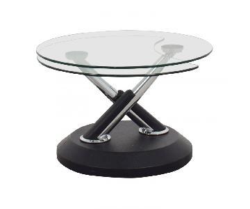 Raymour & Flanigan Modesto Glass Swivel Coffee Table