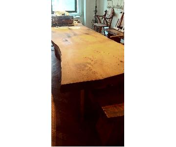 Single Slab Dining Table w/ 2 Benches