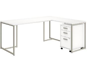Kathy Ireland L Shaped Desk w/ Return & Mobile File Cab