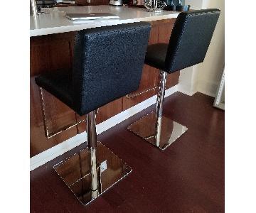 Black Steel Adjustable Bar Stools