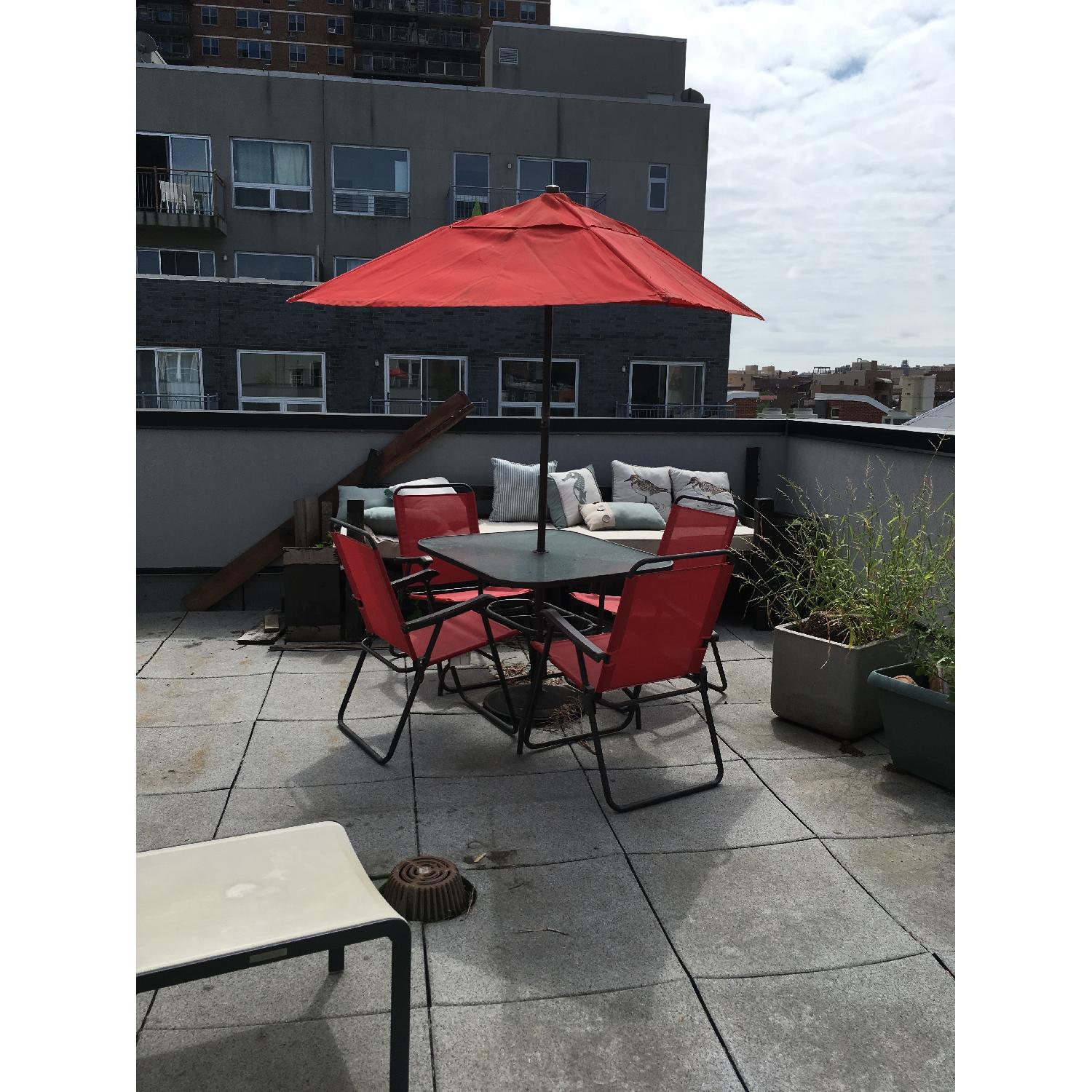 Outdoor Dining Table w/ 4 Chairs + Umbrella w/ Stand
