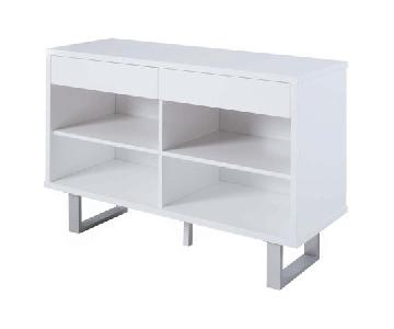Contemporary Sofa Table in White Gloss w/ Drawers
