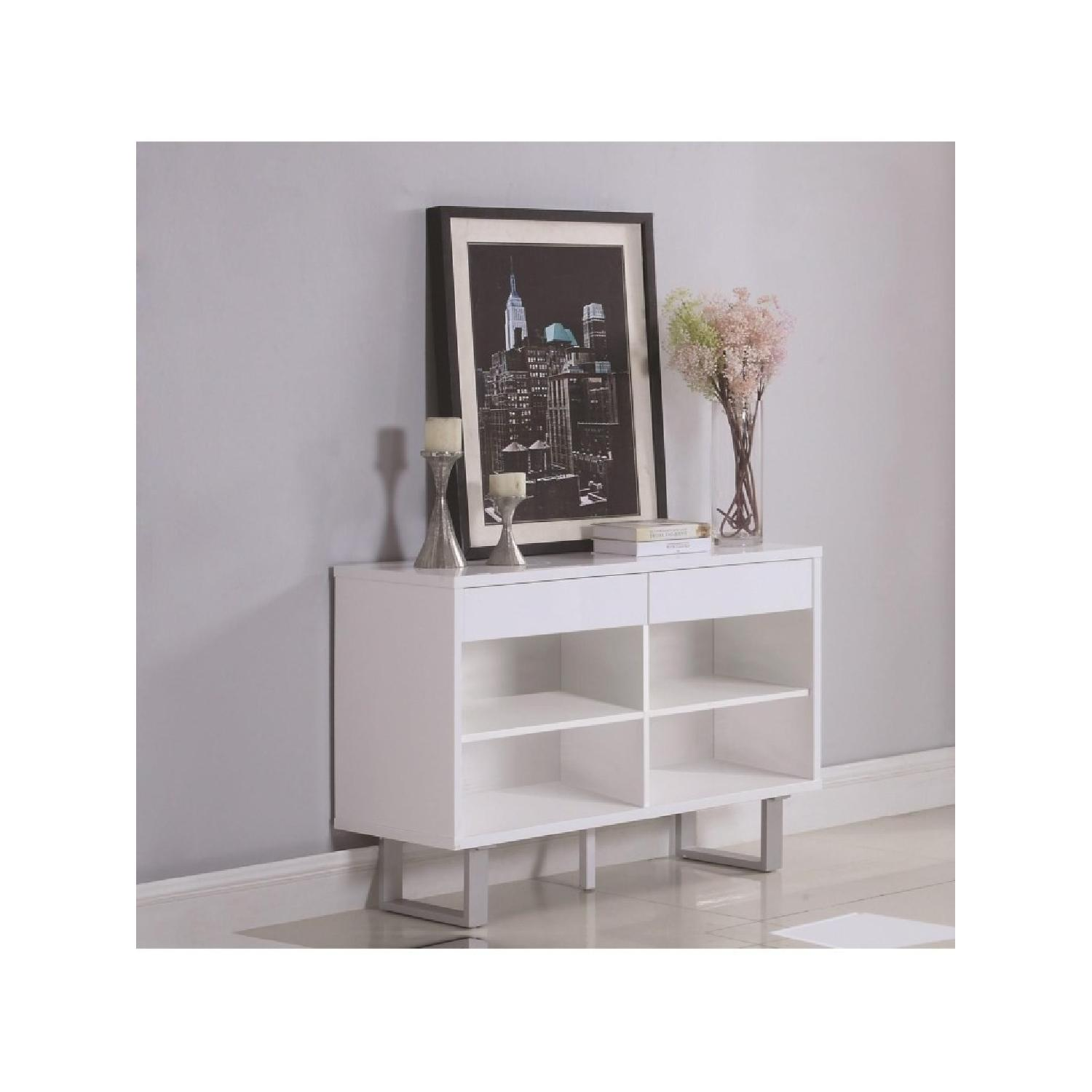 Contemporary Sofa Table in White Gloss w/ Drawers-0