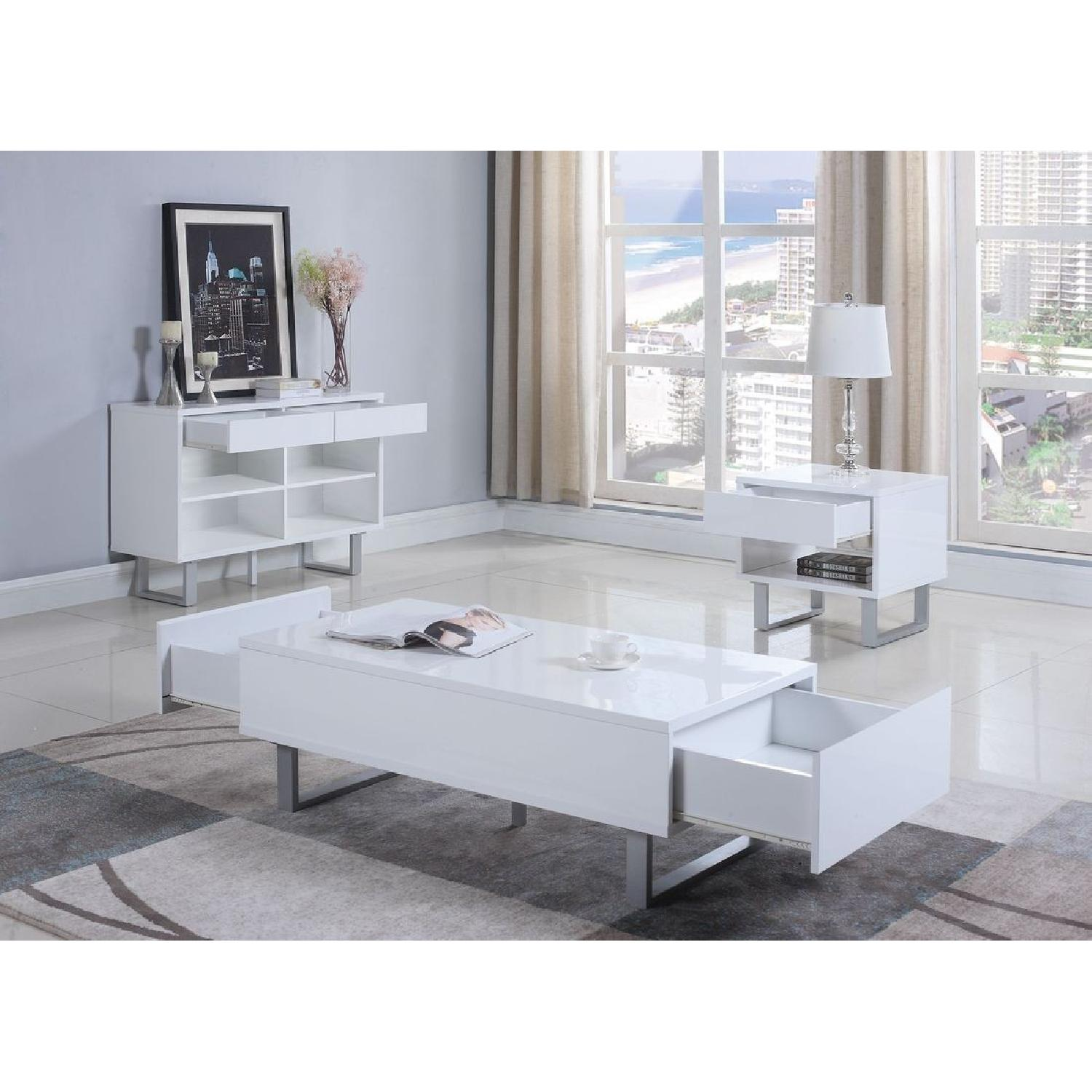 Contemporary Sofa Table in White Gloss w/ Drawers-1