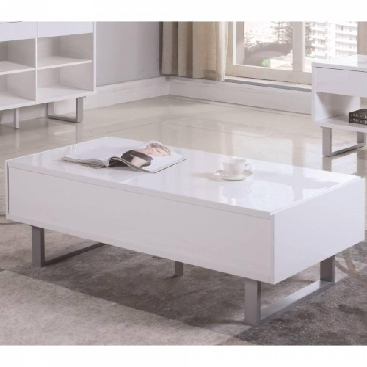Contemporary Sofa Table in White Gloss w/ Drawers-2