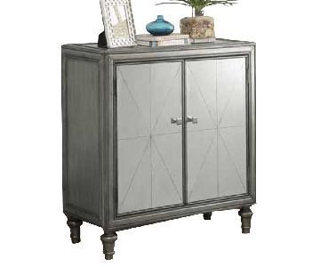 Mirror Cabinet w/ Silver Accent & Removable Wine Shelf