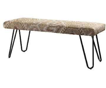 Mid Century Style Patterned Fabric Bench w/ Hairpin Legs