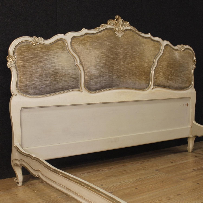 20th Century Lacquered Silvered Wood & Velvet Venetian Bed