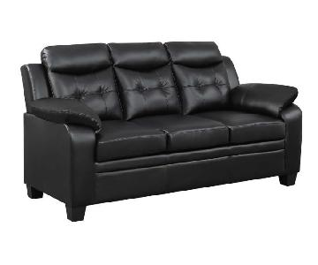 Casual Style Sofa in Black Leatherette w/ Arm & Headrests