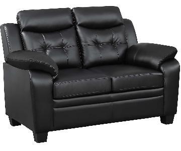 Casual Style Loveseat in Black Leatherette w/ Arm & Headrest
