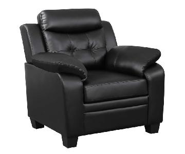 Casual Style Chair in Black Leatherette w/ Arm & Headrests