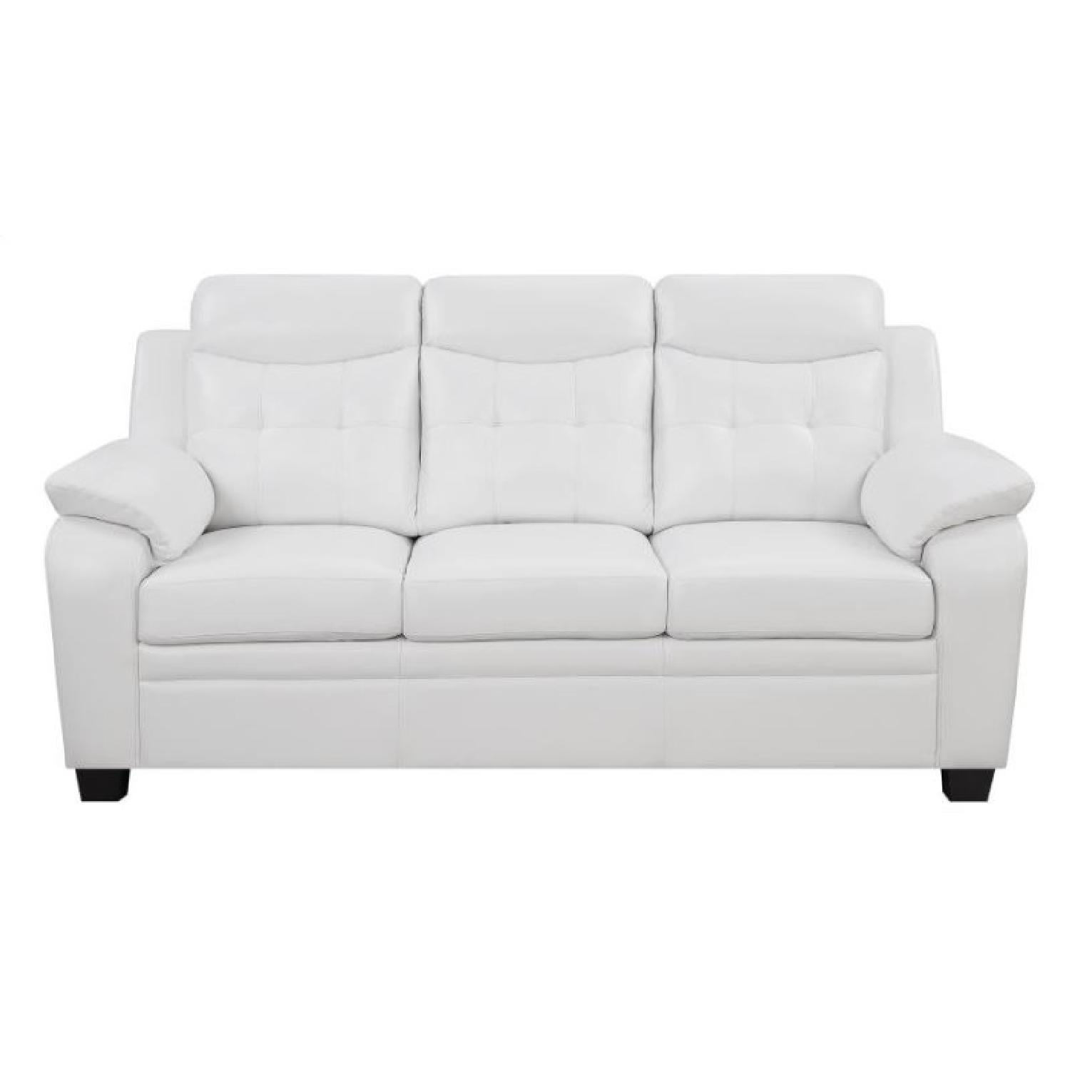 Casual Style Sofa in White Leatherette w/ Arm & Headrests