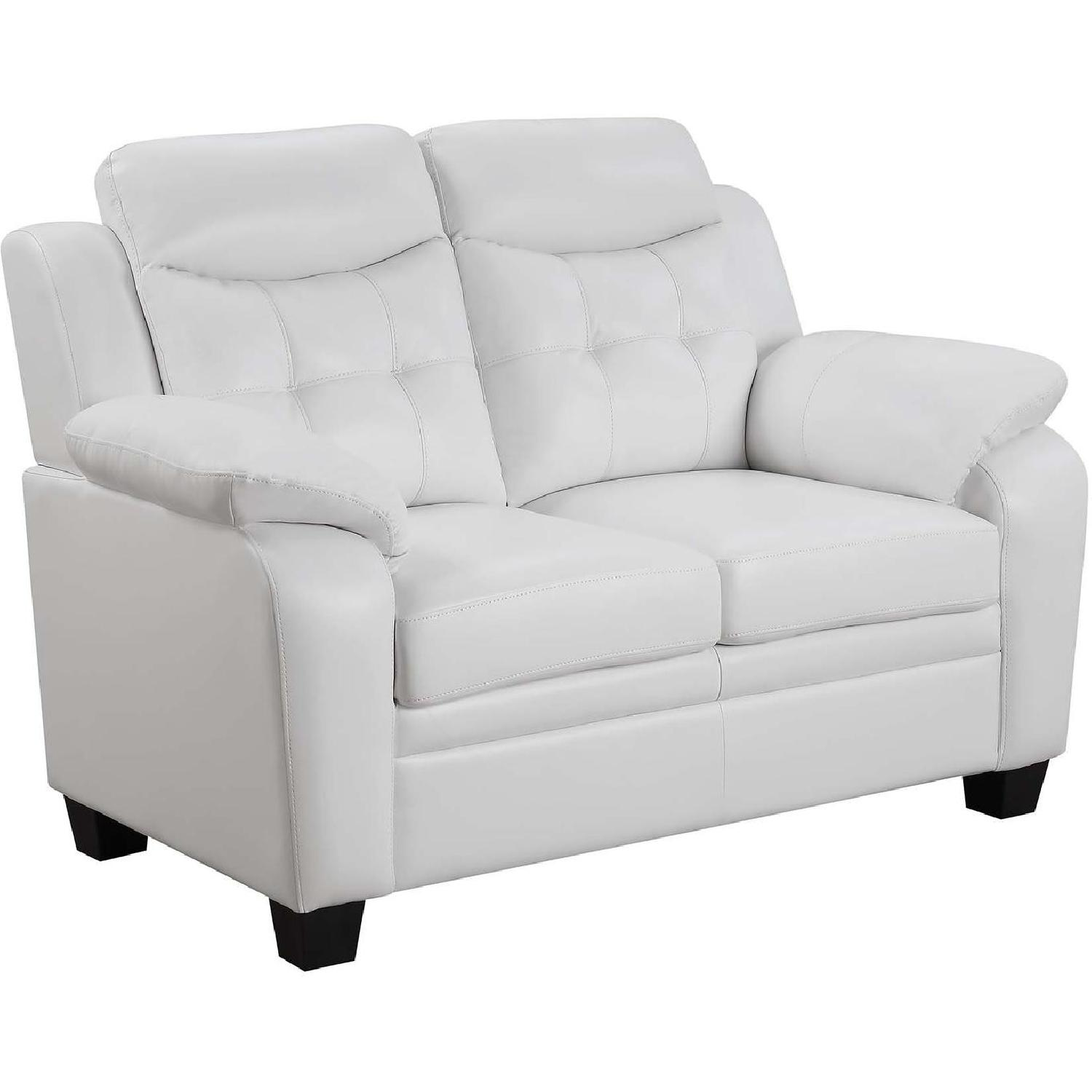 Casual Style Loveseat in White Leatherette w/ Arm & Headrest